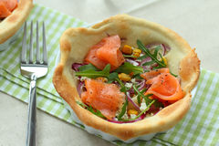 Salmon tarte flambee with arugula Royalty Free Stock Photography