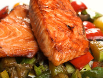 Salmon Teriyaki over vegetables Royalty Free Stock Images