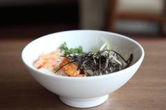 Salmon teriyaki on rice Stock Images