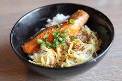 Salmon teriyaki on rice Stock Photos