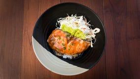 SALMON TERIYAKI RICE, JAPANESE FOOD Royalty Free Stock Image