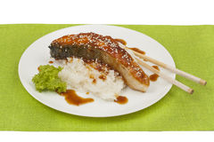 Salmon with teriyaki sauce Royalty Free Stock Image
