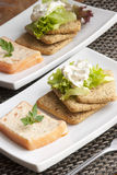 Salmon terrine. Smoked salmon and dill terrine with biscuits and lettuce Royalty Free Stock Photo