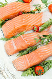 Salmon time. Raw salmon fish on the table from above,selective focus Stock Photos