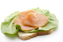 Salmon on toast bread Royalty Free Stock Images