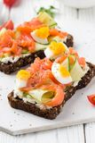 Salmon toast with cream cheese, cucumber and egg. Delicious lunch, healthy food, fish sandwich, diet snack. Salmon toast with cream cheese, cucumber egg royalty free stock photography