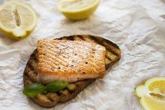 Salmon on toast Royalty Free Stock Photos