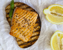 Salmon on toast Royalty Free Stock Photography