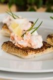 Salmon toasts Stock Photo