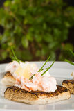 Salmon toasts. Salmon and creme fraiche toasts with chives to garnish Stock Photos
