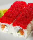 Salmon and Tobiko Maki Sushi Royalty Free Stock Photos
