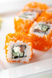 Salmon and Tobiko Roll Stock Image