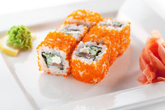 Salmon and Tobiko Roll Royalty Free Stock Images