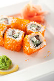 Salmon and Tobiko Roll Stock Images