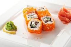 Salmon and Tobiko Roll Royalty Free Stock Photos