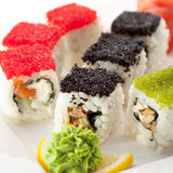 Salmon and Tobiko Roll Royalty Free Stock Photography