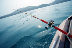 Salmon trolling in sea. Japan. Early in the morning Royalty Free Stock Photo