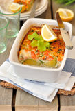 Salmon and Brussels Sprout Bake Stock Photo