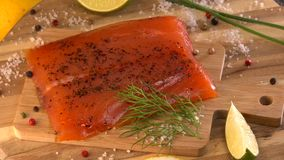 Salmon, Trout Fillet Close Up. France stock video