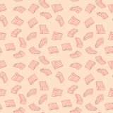 Salmon or trout fillet vector pink seamless pattern or texture. In thin line style Stock Photography