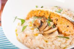 Salmon truffle mushroom risotto Royalty Free Stock Photos