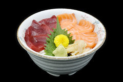 Salmon and Tuna Chirashi sashimi of fresh raw Salmon fish and Tuna fish on rice of Japanese tradition food restaurant. With white isolated background Stock Photography