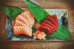 Salmon and tuna fish shasemi Stock Photos