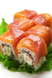 Salmon and Tuna Roll Royalty Free Stock Photo