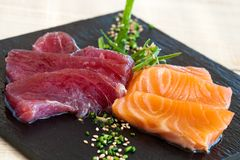 Salmon and tuna sashimi. Stock Images