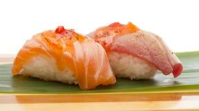 Salmon and tuna sushi nigiri Royalty Free Stock Images