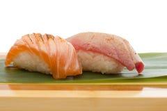 Salmon and tuna sushi nigiri Royalty Free Stock Photography