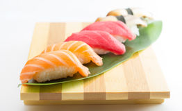 Salmon and tuna sushi nigiri Stock Photos