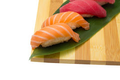 Salmon and tuna sushi nigiri Royalty Free Stock Images