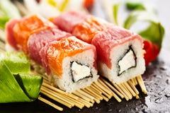 Salmon and Tuna Sushi Roll Stock Photography
