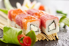 Salmon and Tuna Sushi Roll Royalty Free Stock Images
