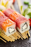 Salmon and Tuna Sushi Roll Stock Photography