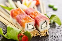 Salmon and Tuna Sushi Roll Stock Photos
