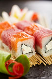 Salmon and Tuna Sushi Roll Royalty Free Stock Photo