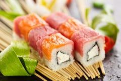 Salmon and Tuna Sushi Roll Stock Image