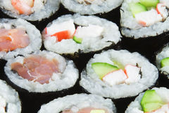 Salmon and Tuna Sushi Rolls Royalty Free Stock Photo