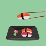 Salmon and tuna sushi with wasabi. Three of salmon and tuna sushi with wasabi Stock Photography