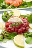 Salmon, tuna and swordfish tartare Royalty Free Stock Photos