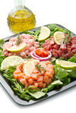 Salmon, tuna and swordfish tartare Royalty Free Stock Images