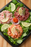 Salmon, tuna and swordfish tartare Royalty Free Stock Image
