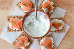 Salmon and tzatziki canape Stock Photography