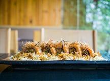 Salmon unagi ebi tempura roll, Japanese modern food. Tempura roll, Japanese modern food Royalty Free Stock Photos