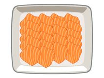 Salmon sliced ​​​in a plate on a white background royalty free illustration