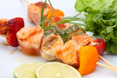 Salmon and Vegatable Skewers Royalty Free Stock Photos