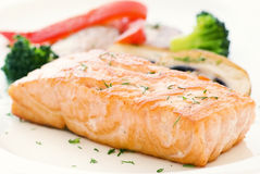 Salmon with vegetable Royalty Free Stock Images