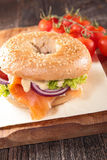 Salmon and vegetable on bagel Royalty Free Stock Image